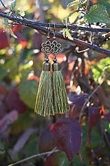 Náušnice - Náušnice strapcové zelené - 12605026_