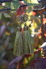Náušnice - Náušnice strapcové zelené - 12605029_