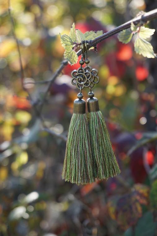 Náušnice strapcové zelené