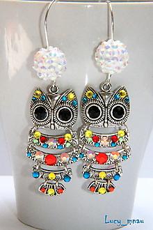 Náušnice - Náušničky sovičky farebné s bielou korálkou :) - 12604332_