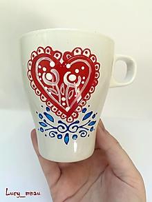 Nádoby - Ručne maľovaná šálka ľudové srdiečko :) - 12605040_