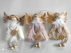 Iný materiál - vianočný anjelik - 12603007_