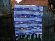 Úžitkový textil - Tkaný koberec fialový s pestrofarebnými pásmi - 12601438_