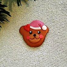 Magnetky - Vianočný medvedík - FIMO magnetka (zamilovaný) - 12602968_