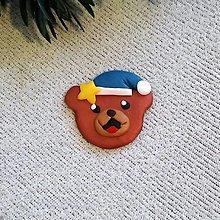 Magnetky - Vianočný medvedík - FIMO magnetka (hviezdička) - 12602969_