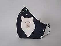 Rúška - Dizajnové rúško ľadový medveď prémiová bavlna antibakteriálne s časticami striebra dvojvrstvové tvarované (Pánske antibakteriálne vnútro) - 12608874_