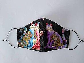 Rúška - Dizajnové rúško secesné mačky tvarované dvojvrstvové - 12608723_