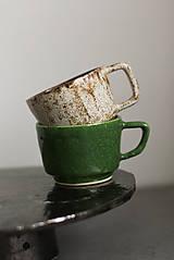 Nádoby - Hrnček biely a zelený (Zelený) - 12607743_