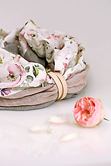 """Šály - Exkluzívny kvetinový dámsky nákrčník zo 100% ľanu """"Rosie"""" - 12612917_"""