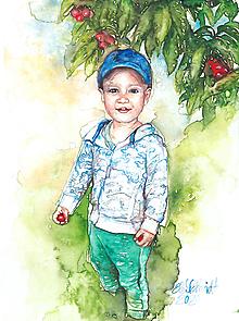 Obrazy - Akvarelový obraz na želanie - detský portrét - 12611233_