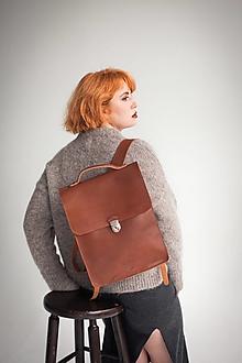 Batohy - Kožený batoh - přírodní - SLEVA -15% - 12612576_
