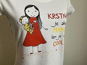 Tričká - Originálne maľované tričko pre KRSTNÚ/ KRSTNÉHO s 2 postavičkami (KRSTNÁ + DIEVČATKO) - 12608981_