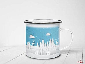 Nádoby - Vianočný smaltovaný hrnček - Zimné mesto - 12608547_