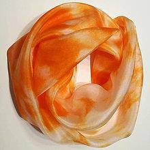 Šatky - Hodvábna šatka oranžová (Hodvábna šatka oranžová) - 12606758_