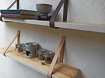 Nábytok - Polička závesná, s koženými remeňmi - 12610477_