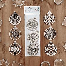 Dekorácie - Sada drevených ozdôb - Vločky v guli - 12617236_