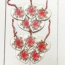 Dekorácie - Sada vianočných srdiečok / vianočná ruža - 12614201_