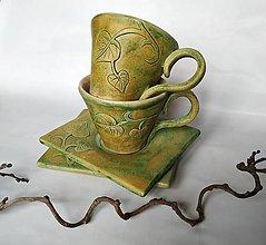 Nádoby - Keramické šálky pre dvoch - Rustikálne - 12617915_