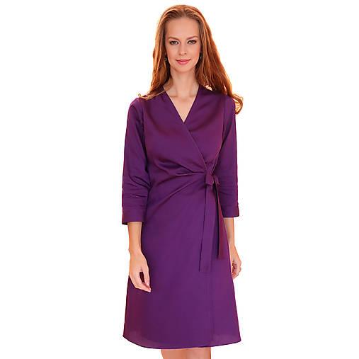 Šaty - Kelly - fialové zavinovacie šaty, 3/4 rukáv - 12615337_