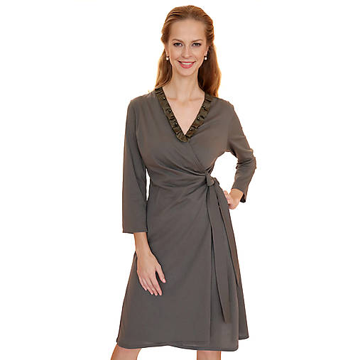 Šaty - Rebecca - zavinovacie šaty, dlhý rukáv, bio bavlna - 12618758_