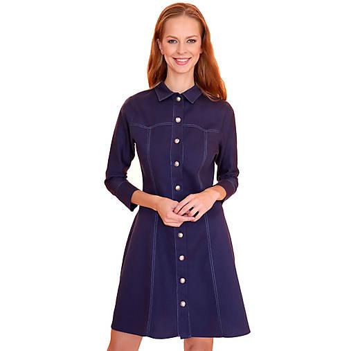 Šaty - Betsy - A-čkové šaty z kepru modré - 12618967_