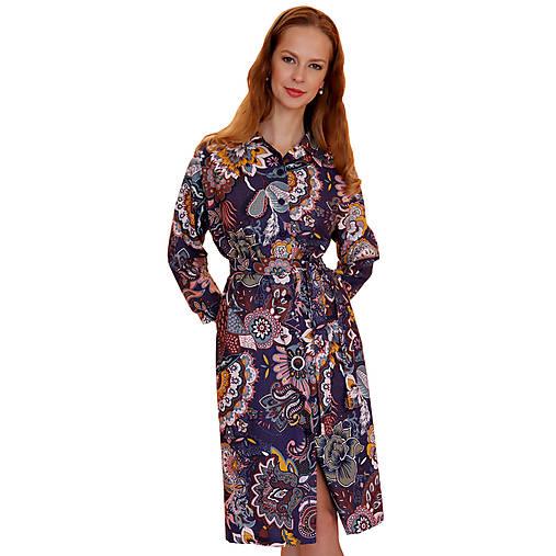 Šaty - Nancy - košeľové šaty vzorované - 12619067_