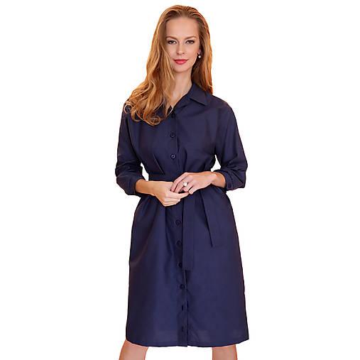 Šaty - Nancy - košeľové šaty modré - 12619103_
