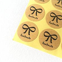 Papier - Nálepka handmade s mašličkou - 12619123_