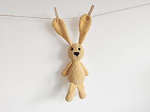 Hračky - Háčkovaný zajko - žltý - 12613796_