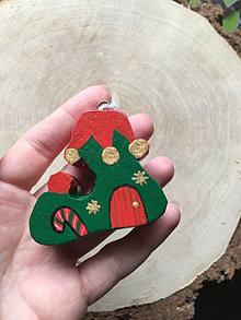 Dekorácie - Čižmička z dreva . Vianočná - 12614528_