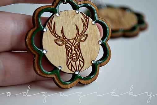 Drevené jelene náušnice v kvete Odzuzičky (Zelená)