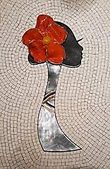 Obrazy - Dáma s kvetom - mazaikový obraz - 12618356_