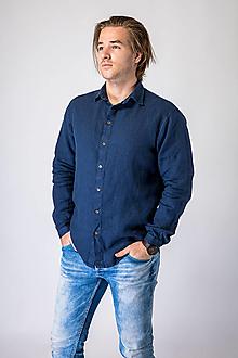 Oblečenie - Ľanová košeľa Leslav tmavo modrá (M) - 12623400_
