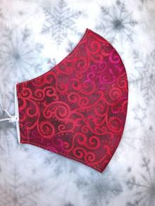 Rúška - Dámske rúško Červené špirály z americkej bavlny - 12624270_