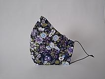 Dizajnové rúško kvety navy tvarované dvojvrstvové