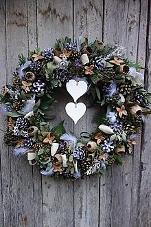 Dekorácie - Vianočný zeleno biely veniec na dvere - 12624508_