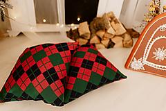 """Úžitkový textil - Pletená obliečka na vankúš """"CUBE COTTAGE"""", OEKO-TEX® - Smaragd-modrá-červená - 12623438_"""