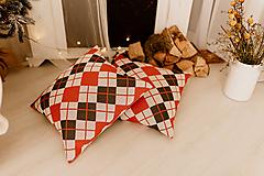 "Úžitkový textil - Pletená obliečka na vankúš ""CUBE STYLISH"", OEKO-TEX® - Tehlová-olivová-smotanová - 12623478_"