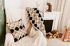 """Úžitkový textil - SET deka a dve obliečky na vankúš """"CUBE ELEGANT"""", OEKO-TEX® - čierno-hnedo-smotanová - 12625750_"""