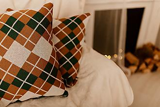 """Úžitkový textil - Pletená obliečka na vankúš """"CUBE CLASSIC"""", OEKO-TEX® - Smotanová-smaragdová-hnedá - 12623462_"""