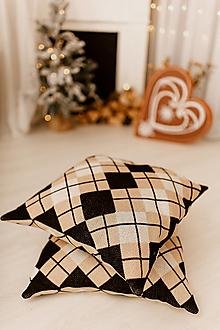 """Úžitkový textil - Pletená obliečka na vankúš """"CUBE ELEGANT"""", OEKO-TEX® - čierno-hnedo-smotanová - 12625766_"""