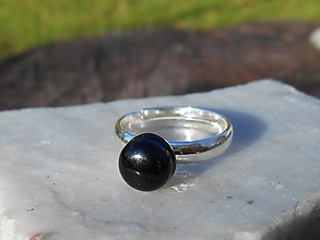 Prstene - black turmalina-ring-in silver-striebro - 12624117_
