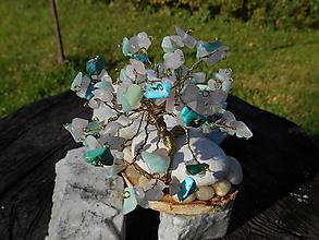 Dekorácie - ,,zlatý,,stromček šťastia,tyrkys,ruženín - 12625366_