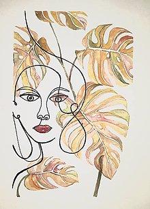 Obrazy - Monstera a Dáma II.,18 x 24 cm, akvarel - 12622450_