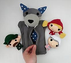 Hračky - Sada maňušiek na prst (Rozprávka o Červenej Čiapočke - s veľkým hladným vlkom) - 12625676_