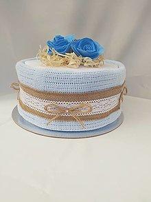 Detské doplnky - Vintage plienkova torta č.2 - modrá - 12625316_