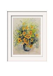 Obrazy - Žltá kytica - 12621644_