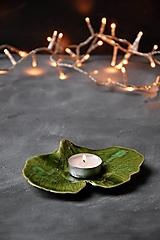 Svietidlá a sviečky - tanierik, svietnik, podšálka list Ginko - 12622630_
