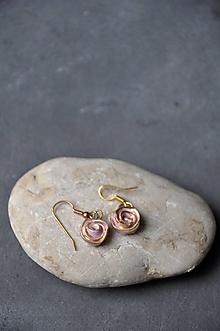 Náušnice - náušnice ružovo-zlatá ruža - 12622002_