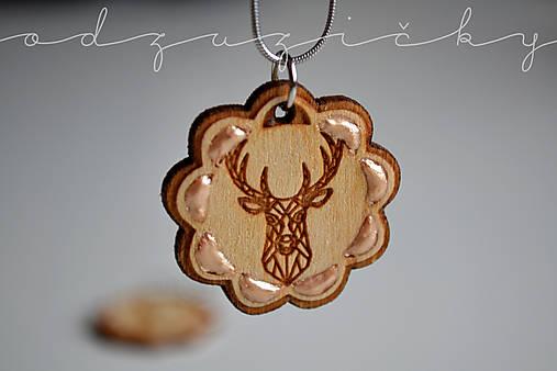Drevené jelene náušnice v kvete zlaté Odzuzičky (prívesok s retiazkou)